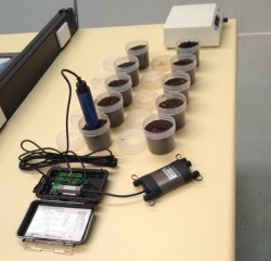 SCP Soil Water Content & Potential Meter being calibrated on lab bench